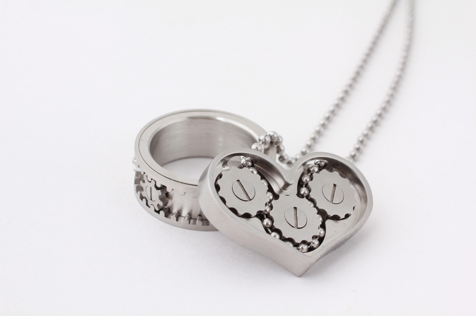 Kinekt Gear Necklace and Gear Ring