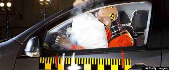 airbag deploying during crash test