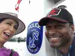 My first police boat ride in New York Harbor with a friend, Dan Bythewood.
