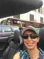 Lauren starts her test drive in a 2016 Jaguar F-Type R in NYC