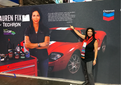 Lauren Fix with Techron Banner