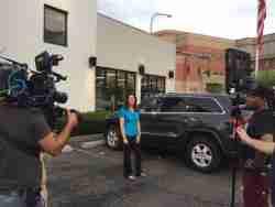 """Lauren Fix , The Car Coach shooting web episodes for PNC's """"Backseat Driver."""""""