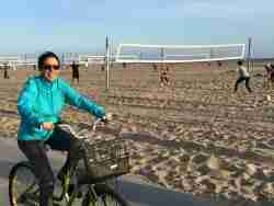 Lauren FIx cruises the Santa Monica Beach on the way to a Volvo dinner event