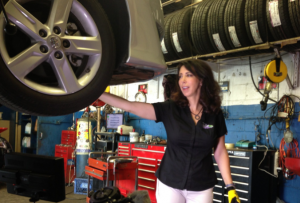 Meet Lauren Fix, The Car Coach, in the auto repair shop
