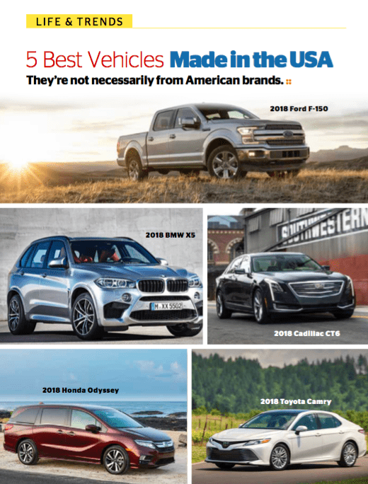 5 Best Vehicles Made in the USA - They're not necessarily from American brands
