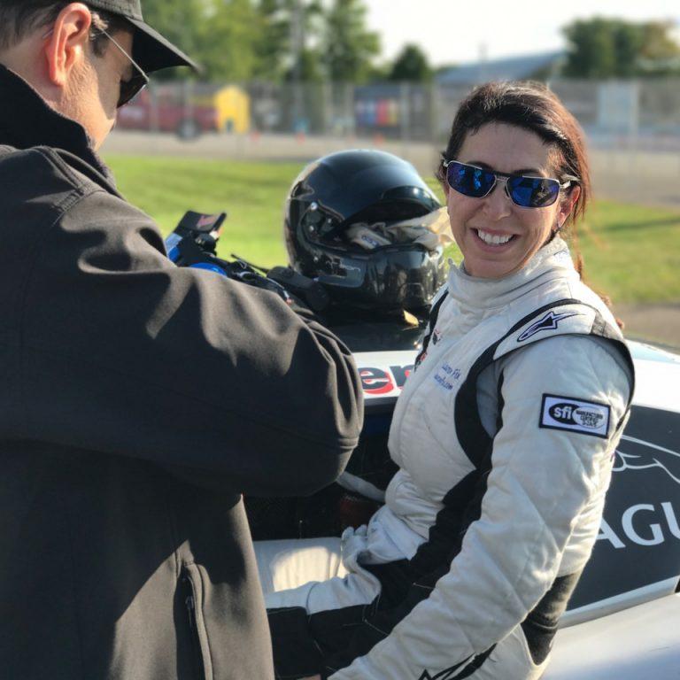 Lauren racing the Jaguar at Watkins Glen